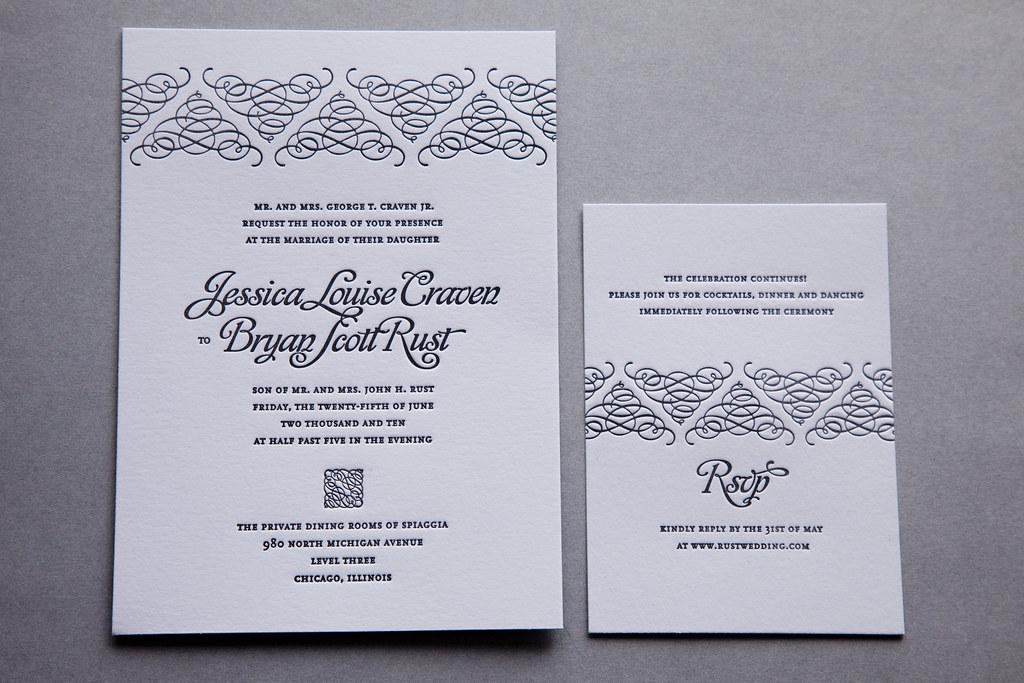Final calligraphy letterpress invitation