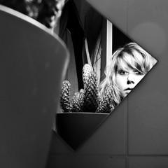 Don't fear the cactus (Vusutor) Tags: light cactus portrait blackandwhite woman selfportrait plant reflection me girl self canon myself square mirror carr g11 vusutor