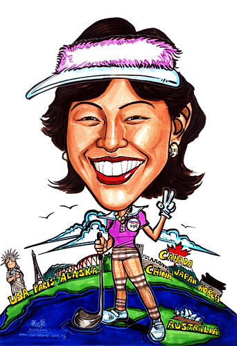 Caricature for Detpak golfer with landmarks & Burberry
