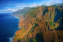 "Na Pali Coast aerial - Kauai, Hawaii (IronRodArt - Royce Bair (""Star Shooter"")) Tags: ocean sky mountain west hawaii coast paradise aerial na kauai pali napali clifs"