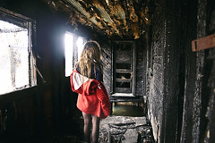 (yyellowbird) Tags: red house selfportrait abandoned girl fire tennessee coat cari