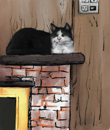 Samantha-on-fireplace