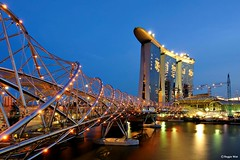 Blue Hour at the MBS- Singapore. (Reggie Wan) Tags: building tourism night ir evening singapore asia southeastasia cityscape landmark casino helix bluehour mbs marinabay metalbridge integratedresort helixbridge asiancity thehelix marinabaysands sonya700 reggiewan