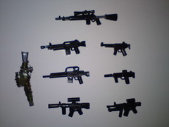 Custom guns ( !! ) Tags: brown white black usmc private army for gun desert lego scope military tan terrorist rifles assault weapon marines op minifig dynamite bombs spec weapons ops brickarms