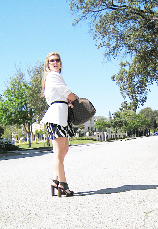 black and white tribal dress+white blazer-2