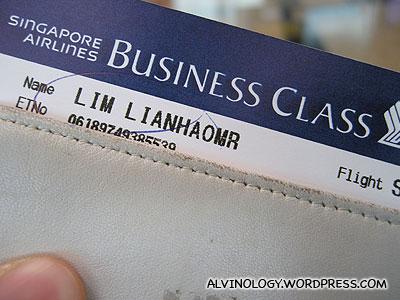 Business Class ticket - woohoo!