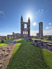 St. Andrews Old Cathedral (Paul Petruck) Tags: old blue sky sun green scotland cathedral unitedkingdom standrews hdr businesstrip