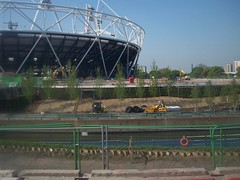 Landscaping at The Stadium (Andy Wilkes) Tags: roof building london cup cake danger work landscape site construction crane stadium centre land olympic olympics scape stratford 2012 aquatics londonist