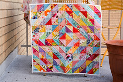 Finished Value Quilt (Jeni Baker) Tags: colors modern project square cool triangle colorful warm apartment quilt handmade sewing may fabric quilting half finished stitching block 365 projects quilts straight crafting 2010 hst