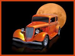 Tangerine Dream (bindare2) Tags: moon reflection art classic car photoshop automobile american hotrod photoart topaz adjust coolcars carart denoise topazadjust