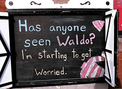 Where's Waldo? (Georgie_grrl) Tags: toronto ontario hat shirt illustration missing funny downtown drawing stripes humour mia pentaxk1000 queenstreetwest chalkboard awol whereswaldo outerlayer cans2s rikenon12828mm
