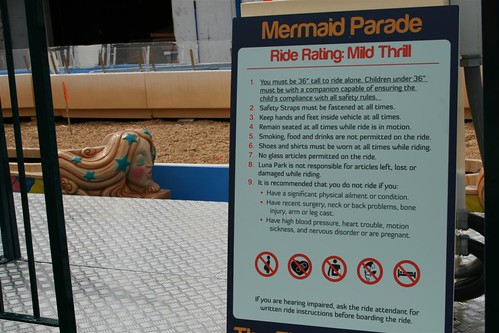 Mermaid Parade Kiddie Ride Sign at Luna Park. Photo © Bruce Handy/Pablo 57 via flickr