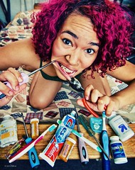 365 228 Extraction (Miss Minie  :Process Of Illumination:) Tags: portrait woman selfportrait newmexico me hairdye girl self canon tooth teeth albuquerque wideangle excited dental tools surgery tokina toothpaste thankful 365 toothbrush pills dentist 1224mm screwdriver haircolor floss extraction dentalwork painkiller opreation