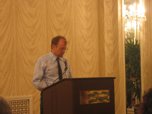 George Saunders reading during the Annual Writers Festival