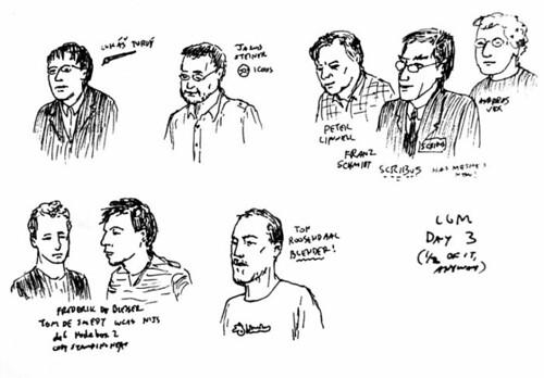 Bocetos de Tom Lechner de los disertantes