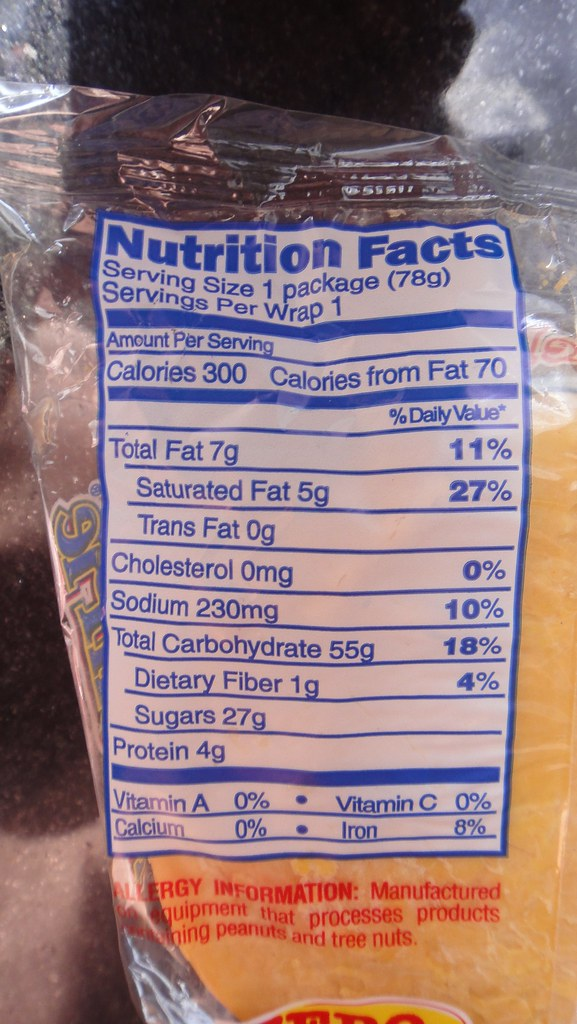 Moon Pie nutritional data
