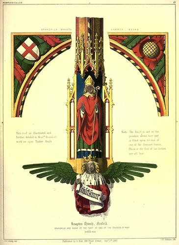 006- Paneles y nicho del techo de la iglesia Knapton en Norfolk-Gothic ornaments.. 1848-50-)- Kellaway Colling