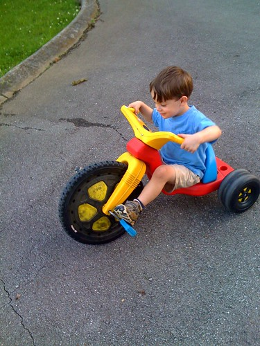 Leland on vintage Big Wheel