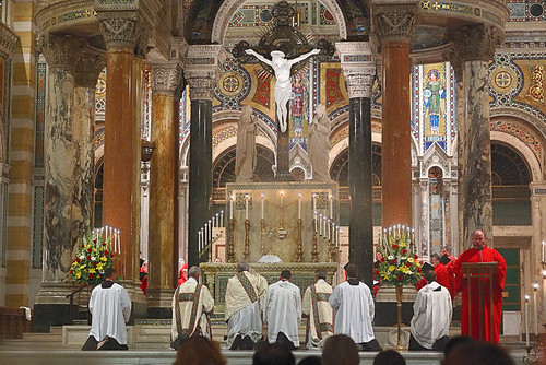 Cathedral Basilica of Saint Louis, in Saint Louis, Missouri, USA - Corpus Christi Procession - benediction in Cathedral