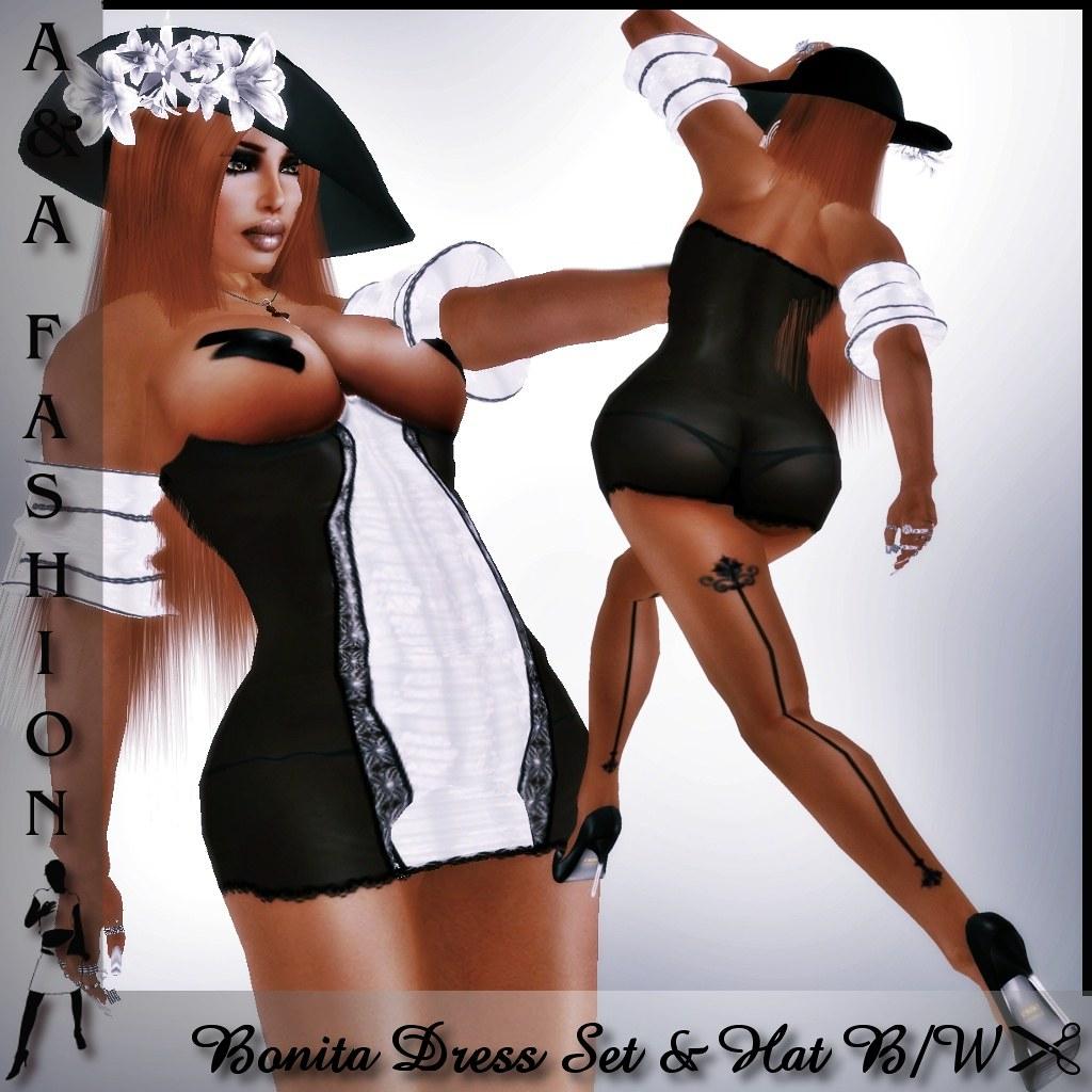 A&A Fashion Bonita Dress Set Black White