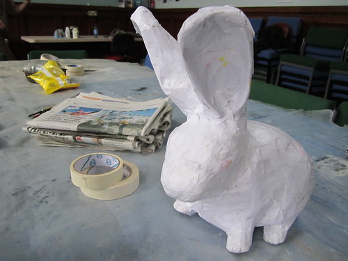 paper mache bunny! by charclam, on Flickr