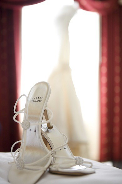 Wedding shoes with high heel sandal style beads