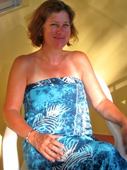 Golden girl (copperbottom1uk) Tags: light woman smile happy tanlines strapless bluedress