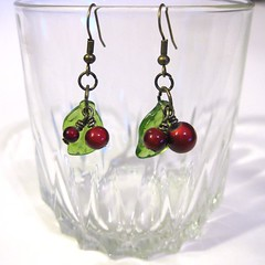 Cherry Earrings (stitchinghour) Tags: jewelry cherryearrings