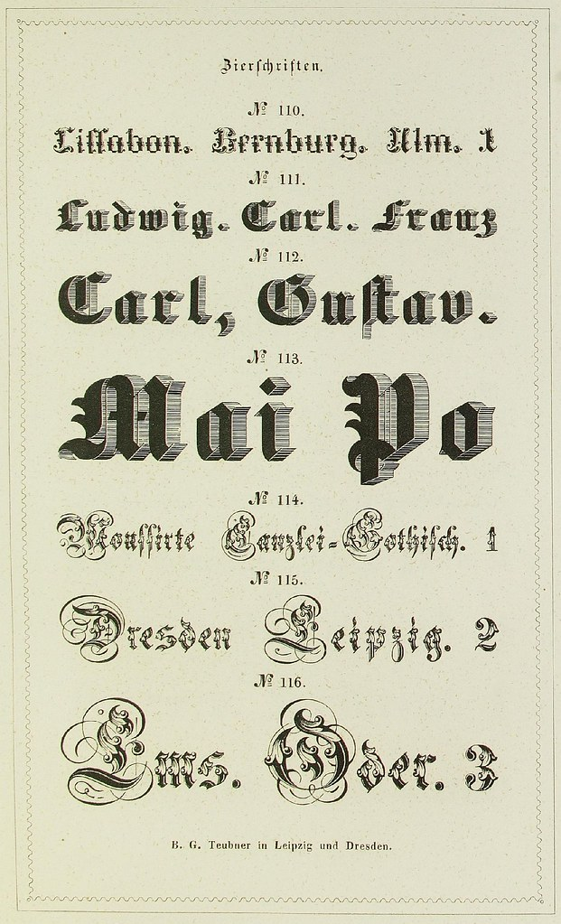 Schrift- und Polytypen-Proben BG Teubner, 1846 a