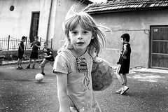 Kids playing soccer, Sarajevo, BiH (Tom Szustek) Tags: street portrait girl kids photography football photographie sarajevo bosnia soccer photojournalism bih fotojornalismo photojournalisme fotojournalismus