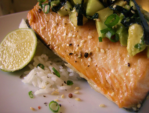 Roasted Salmon with Veggie Sushi Salsa