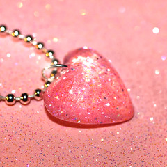 little pink glittery heart resin necklace by isewcute (isewcute) Tags: pink cute necklace heart handmade pastel mini jewelry pale sparkle plastic reflective imadethis resin fabulous glittery pendant petite irridescent craftster handcast kitshy isewcute originalarttowear craftingwithresin