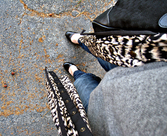 classic look+ jeans and sweater+ leopard print dress as bed jacket-sharp