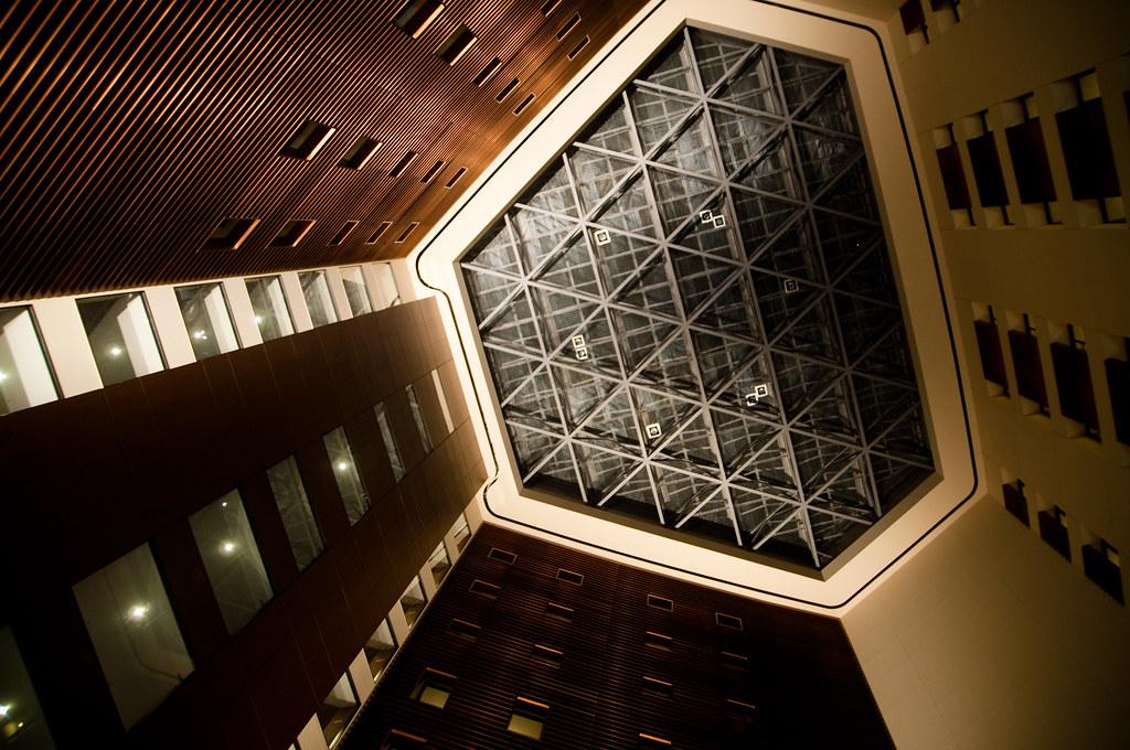 Park Hotel Tokyo lobby at night