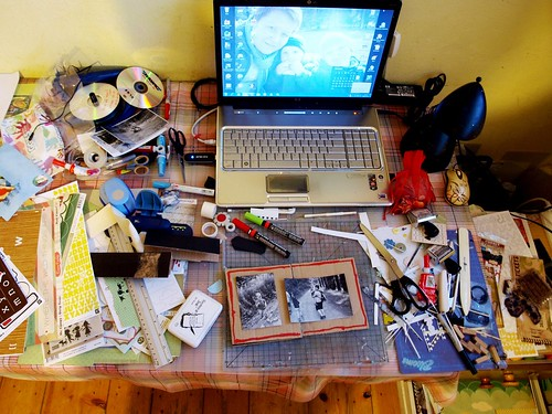 nov 1/30 - {part of my messy scrapbook corner....}