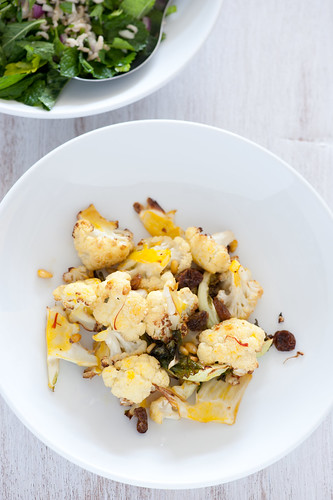 roast cauliflower with saffron & pinenuts