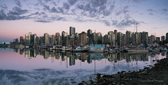 Coal Harbour (Stephanie Sinclair) Tags: canada coalharbour stanleypark city cityscape clouds marina pano panorama pink reflection seattleempress ships stephaniesinclairphotography sunset zeiss