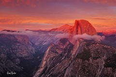 reminiscence ([Adam Baker]) Tags: park pink blue sunset orange mountain nature rock clouds canon landscape purple sierra national yosemite granite halfdome vista portfolio glacierpoint gnd 24105l adambaker alpinglow 5dmarkii