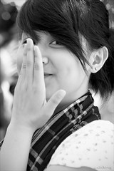 Cute girl (-clicking-) Tags: portrait blackandwhite bw cute girl beautiful smile face look nice pretty teen hide lovely charming vietnamesegirls blackwhitephotos