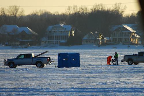 ice fishing men