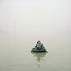rowing  (wang yuanling) Tags: china city morning color water rolleiflex four kodak documentary rowing yangtzeriver chongqing threegorges rolleiflex28f subjective pro160