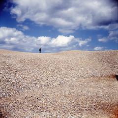 Pebble Beach i (Jaymes Sinclair) Tags: summer 120 6x6 tlr film beach square coast kodak norfolk sunny pebble lubitel transparency lubitel166 kodake100vs ektachrome salthouse twinlensreflex canoscan9950f