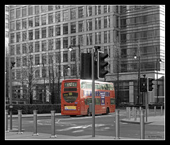London Bus (Steve's Photography :-)) Tags: red bus london office nikon docklands d200 canarywharf towerblock londonbus pelicancrossing selectivecolouring steveclancy