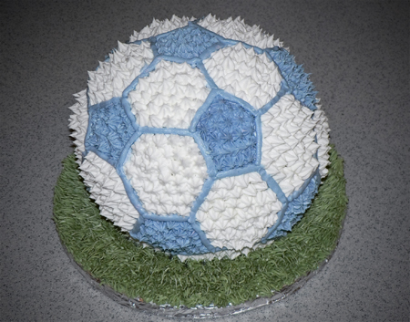 buttercream blue soccer ball cake grass baby shower
