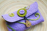 "lavender felt card pouch...""new fern""...nature renewing itself"