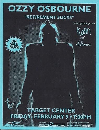 02/09/96 Ozzy Osbourne/Korn/Deftones @ Minneapolis, MN (Handbill)