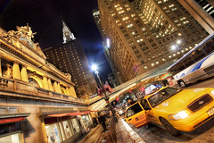 Off the Train and Into the Big Apple, Grand Central, NYC (WanderingtheWorld (www.LostManProject.com)) Tags: nyc newyorkcity newyork detail high interesting dynamic cab 42ndst yellowcab surreal crisp grandcentralstation chryslerbuilding grandcentral pershingsquare hdr 42ndstreet wwh thebigapple