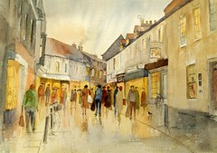 JANUARY SHOPPING (VTLANDER) Tags: street houses winter people art buildings shopping painting lights yorkshire shops towns beverley