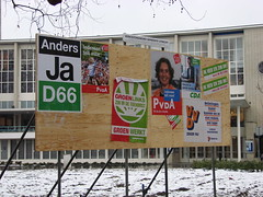 Party Posters [Day 33/365] (indigo_jones) Tags: red orange snow holland green netherlands dutch theater utrecht board politics nederland posters elections d66 pvda vvd stadsschouwburg project365 project3652010
