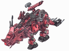 Red Horn the Terrible from Zoids (jelliscorpio) Tags: red illustration toys 80s terrible fi horn sci zoids jelliscorpio
